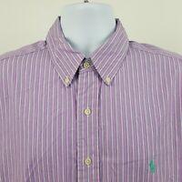 Ralph Lauren Classic Fit Purple Striped Men's L/S Collar Button Shirt Sz 17 / XL