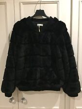 BEAUTIFUL GIRLS FAUX FUR SILVIAN HEACH BLACK BOMBER JACKET AGE 12-14 YRS