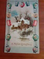 Vintage Christmas Postcard with Oriental Paper Lanterns Border