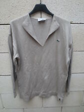 Pull femme LACOSTE Devanlay made in France col V beige coton shirt 40