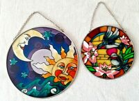 "Vtg Lot of 2 Stained Glass Colorful Suncatchers 6.5"" Sun & Moon 5"" Humming Bird"