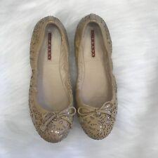Prada Beige Ballet Flats Floral Laser Cut Patent Leather Bow Size US 6 EU 36