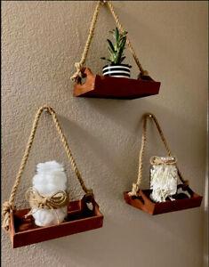 Wood Trays Hanging Shelves 3 Pcs
