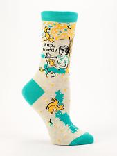 Blue Q Women's Crew Funny Novelty Socks, 'Sup, Nerd? - Orange/Aqua (OSFA)