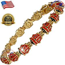 "20 MAGNET 10.75"" ANKLET COPPER ALLOY BRACELET GOLD (GP) MAGNETIC LADY BUG AK12"