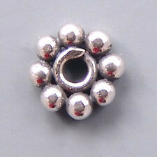 Bali Sterling Silver Daisy Beads B144 (10) Flat 6mm