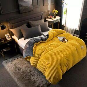 80FC Soft Warm Coral Fleece Flannel Duvet Cover Set Comforter Cover