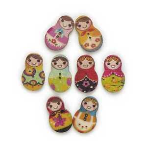30pcs Matryoshka Wood Buttons for Sewing Scrapbooking Cloth Handmade Craft Decor