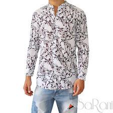 Camicia Uomo Casual Slim Cotone Floreale Manica Lunga Bianca Collo alla Coreana