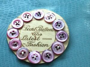 Vintage Original Card of 12 Small Mother of Pearl Pink Buttons.1930,s
