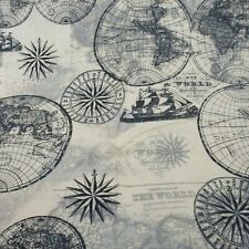 Old World Nautical Travel Map 1 Yard Fabric Pre Cut 100% Cotton 36