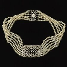 Antique 18k White Gold Diamond Pearl  5 Strand Choker Necklace