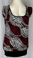 Womens M Top Black White Fuchsia Pink Stretchy JKLA Stretch Knit