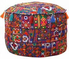 Indian Patchwork Ottoman Pouf Cover Handmade Vintage Embroidered Pouffe Case