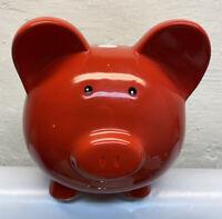 "Large Red W/White Polka Dots Ceramic Pig Piggy Bank 9.5""x 8"""