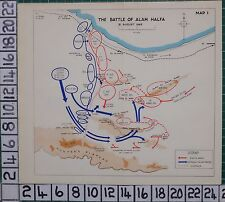 WW2 MAP ~ BATTLE OF ALAM HALFA GERMAN & ITALIAN FORCES MINEFIELDS 8th ARMY