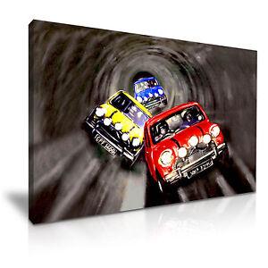 The Italian Job Movie Classic Cooper Car Canvas Wall Art Picture Print 76x50cm