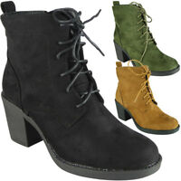 New Womens Ladies Ankle Boots Faux Suede High Heel Lace Up Zip Casual Shoes Size