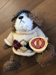 """1997 Pickford Bears Brass Button 9"""" Augie Plush Dog of Friendship with Hat W/Tag"""