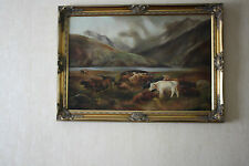 HIGHLAND CATTLE OIL ON CANVAS PAINTING from 1908 by N.Robinson