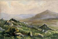 LOUISA RUSSELL SALMON Antique Watercolour Painting MOORLAND LANDSCAPE c1928