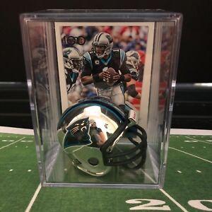 Chrome Edition Carolina Panthers Cam Newton Mini Helmet Shadowbox w/ card