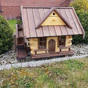 Wassermühle Wassermühlen Teich aus Holz mit Gaube Gartendekoration Gartendeko 2