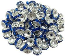 100Pcs 8mm  Crystal Rhinestone SILVER PLATED 14 Color Rondelle Spacer BEADs
