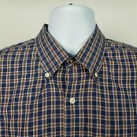 Peter Millar 100% Cotton Mens Blue Brown Check Dress Button Shirt Sz XL