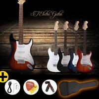 Hot Full Size ST Electric Guitar Gig Bag Picks Strap Beginner Practice US Ship