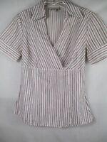 Ann Taylor Loft Women's Size 2 100% Cotton Short Sleeve Striped Blouse
