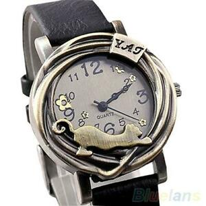 Leather Band Stretching Cat Watch