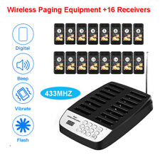 Wireless Queuing Paging System +16 Coaster Pagers 433MHZ Table Restaurant Cafe