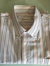 Camicia Uomo Classica, Manica Lunga, Cotone 100%, a Righe, Colore Rosa, N.44