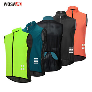 Mens Cycling Vest Reflective Sleeveless Bicycle Gilet MTB Bike Jerseys Waistcoat