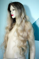 HUMAN HAIR Full Lace Wig Indian Remi Remy Silk Top Blonde Mix T-Color Bodywave