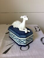 Greyhound Whippet Figurine Porcelain Trinket Box By Fitz & Floyd