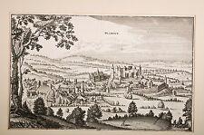 Ville de Blâmont,Meurthe et Moselle, gravure par Merian, 1645, Lorraine