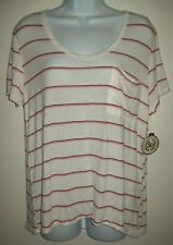 So Womens Top Size M White Pink Striped Popover Tee Short Sleeve Left Pocket