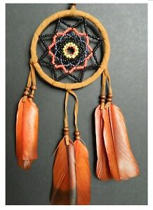 DREAM CATCHER INDIAN STYLE WOVEN BEAD traditional dreamcatcher NATURAL BROWN