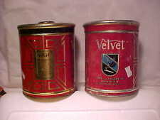 2 VELVET PIPE & CIGARETTE TOBACCO Tin Cans 1 ORIG LID 1 REPLACEMENT LID GRANGER