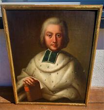 ancien tableau portrait homme religieux epoque 18 eme deisme