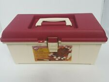 Vintage WILTON Cake Decorating CADDY - Large  Size Red Top with Tray & Handle
