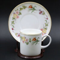 Vintage WEDGWOOD Bone China Coffee Cup & Saucer Mirabelle R4537 Floral Gold Trim