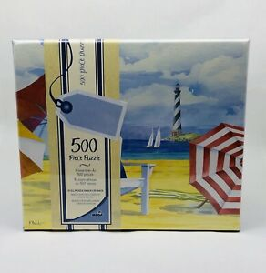 Puzzle in Gift Box 500 Piece Beach Scene Lighthouse Beach Chairs by MEGA