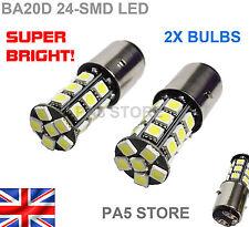 2x BA20D H6 24-SMD 5050 LED Bulbs - XENON WHITE 6000K Motorcycle Motorbike UK