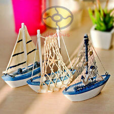 (SET)3PCS Wood Model Miniature Sailing Boat Ship Sailer Yacht Nautical decor