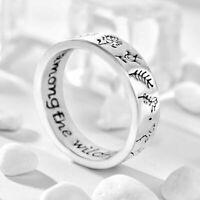 Mode Frauen geschnitzte Blumen Pflanzenring 925 Silber Hochzeit Charm Schmuck