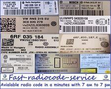 Unlock VW radio code RCD310 510 RCD210 RNS300 RNS310 RNS315 *Fast* Really fast *
