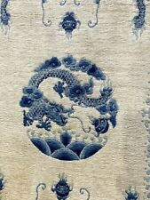 Fine Silk Dragon Chinese pictorial Oriental Rug Hand-Knotted  Blue  3' x 5'